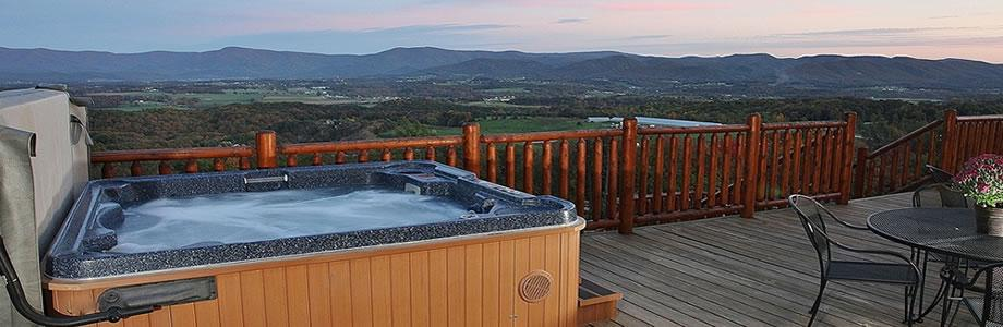Hot tub on deck over looking mountain scene